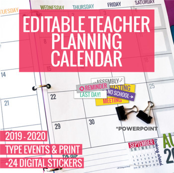 2019-2020 Editable Teacher Planning Calendar Template