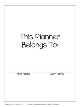 2019 - 2020 Elementary Student Planner Pages