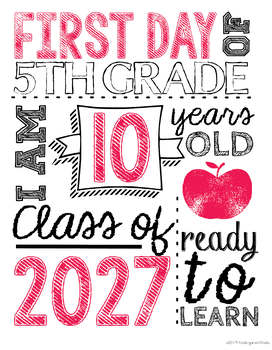 picture regarding First Day of 5th Grade Printable known as 2019-2020 Initially Working day of Faculty Image Props