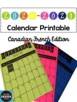 2019-2020 **French** Calendar Printable (Canadian Edition)