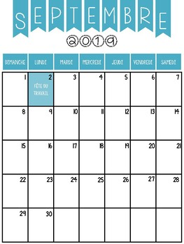 2019-2020 **French** Calendar Printable (Colour Canadian Version)