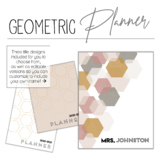 2019-2020 Geometric Planner w/Editable Planning Pages & FR