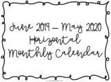 2019-2020 Landscape/Horizontal Monthly Calendar Printables