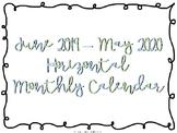 2019-2020 Landscape/Horizontal Monthly Calendar Printable (Calming Colors)
