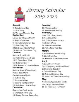 2019-2020 Literary Calendar