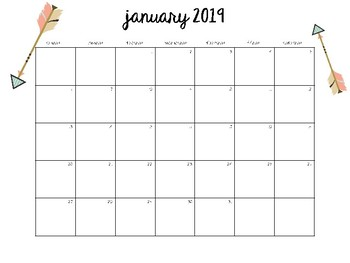 2019 2020 Monthly Calendar Set