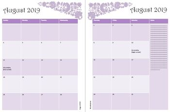 graphic relating to Monthly Planning Calendar named 2019-2020 Every month Designing Calendar Pink Floral