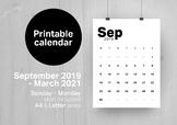 2019-2020 Monthly Printable calendar (pdf)   Modern minimalist design