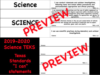 """2019-2020 NEW 4th Grade """"I Can"""" TEKS Statements Science"""