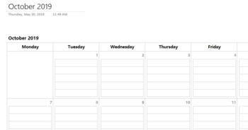 2019-2020 OneNote Lesson Plan Pacing Calendar