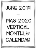 2019-2020 Portrait/Vertical Monthly Calendar Printable (Black and White)