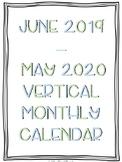 2019-2020 Portrait/Vertical Monthly Calendar Printable (Calming Colors)