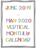 2019-2020 Portrait/Vertical Monthly Calendar Printable (Rainbow Colors)
