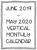 2019-2020 Portrait/Vertical Monthly Calendar Printables