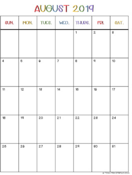 image regarding Vertical Calendar Printable identify 2019-2020 Portrait/Vertical Month to month Calendar Printables