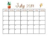 2019 - 2020 Printable Pineapple Calendar