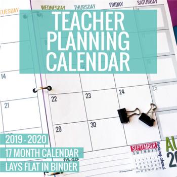 Teachers Calendar 2020 2019 2020 Printable Teacher Planning Calendar Template by