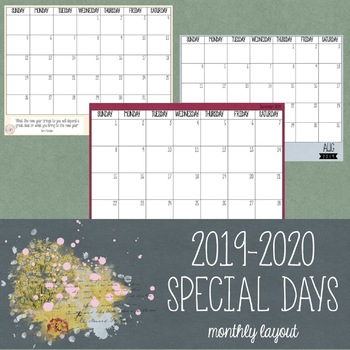 2020 Calendar With Special Days 2019 2020 Special Days Calendar by Thriving in Education | TpT