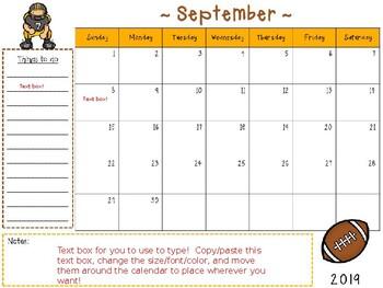 Sports Calendar 2020 2019 2020 Sports Themed EDITABLE Academic School Calendar by Owl