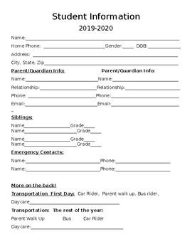 2019-2020 Student Information sheet