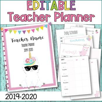 Teacher Planner 2019-2020 Unicorn Llama EDITABLE