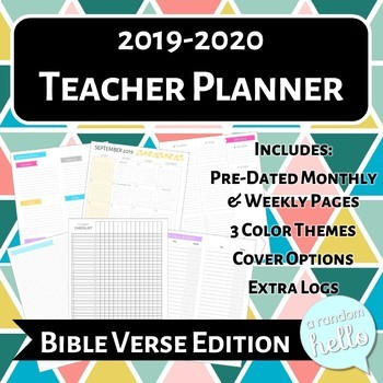 2019-2020 Teacher Planner Bible Verse Edition, Ideal for Secondary, 3 ColorTheme