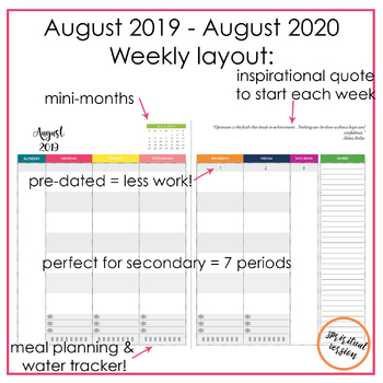 2019-2020 Ultimate Teacher Planner - Spiritual Version - Yearly/Monthly/Weekly