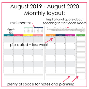 2019-2020 Ultimate Teacher Planner Yearly/Monthly/Weekly layouts - Inspirational