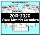 2019-2020 Visual Monthly Calendars for Children with Autism
