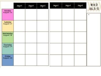 photo regarding Weekly Planner Pages called 2019-2020 Weekly Planner Internet pages - Editable - Google Slides