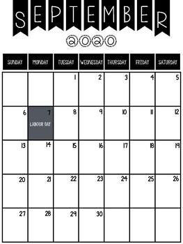 2019-2020 calendar printable (Canadian Edition)
