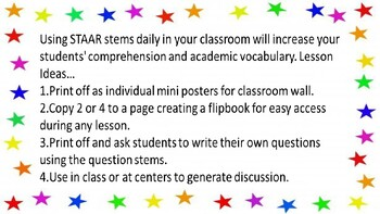 2019 8th Grade Reading STAAR Question Stems by C A Voris ...