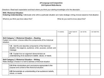 2019 AP Language and Composition Skills Matrix