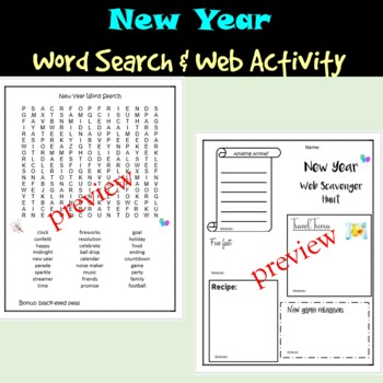 New Year's 2019 Activities Pack - Coloring Pages, Word Search & More