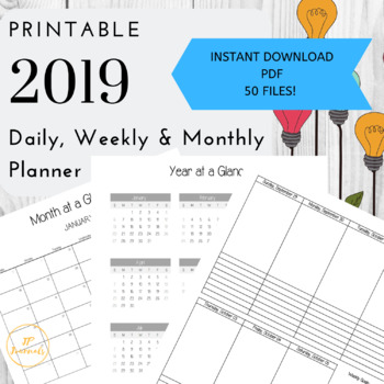 picture relating to Weekly Printable Planner named 2019 All Inside Just one Day by day, Weekly and Month-to-month Printable Planner