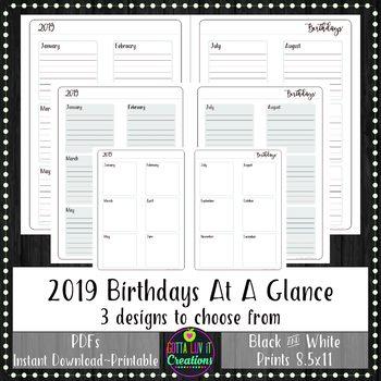 2019 BIRTHDAYS Yearly At A Glance Planner Insert or Teacher Binder Page