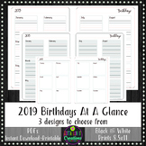 2019 BIRTHDAYS Yearly At A Glance Planner Insert or Teache
