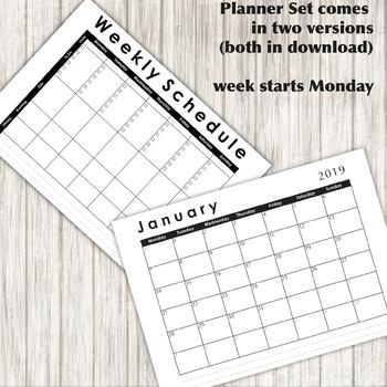 2019 Basic Planner Set - Weekly & Monthly sheets - Printable PDF