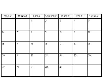 2019 Blank Calendar
