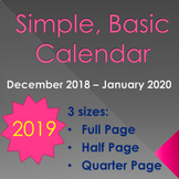 2019 Blank Calendars - Full, Half, or Quarter Page!