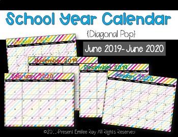 2019 Calendar {Diagonal Pop}