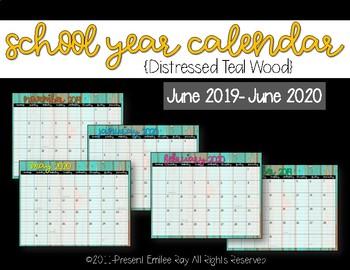 2019 Calendar {Distressed Teal Wood}