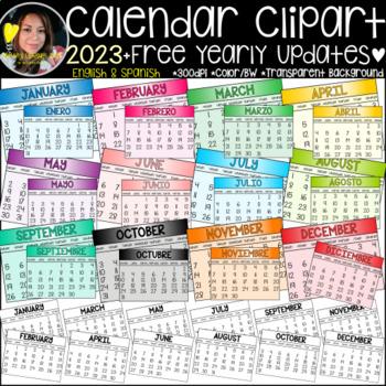 Calendar Clipart+ FREE Life-time Updates!  {Calendar Clipart} {Years 2019&2020}