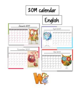 2019 Calendar - Owl theme