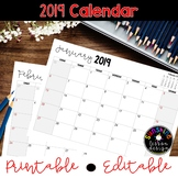 ★2019 Monthly Calendars, Printable and Editable!★