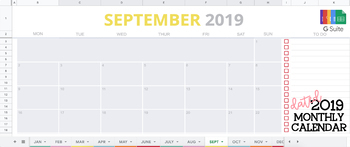 2019 Dated Google Sheets Monthly Calendar   Google GSuite Year-at-a-Glance