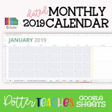 2019 Dated Google Sheets Monthly Calendar | Google GSuite