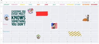2019 Dated Year-at-a-Glance Calendar | Google Sheets, Google GSuite