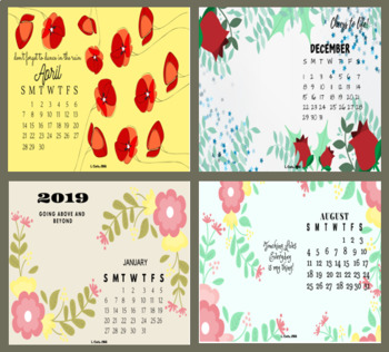 2019 Desktop / Wall Monthly Calendar Wallpapers / Posters - Floral Theme