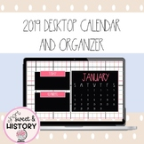 2019 Digital Desktop Wallpaper Calendar and Organizer - Preppy Theme